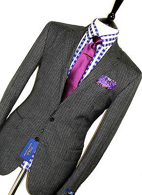 Bnwt Luxury Mens Ralph Lauren Polo Charcoal Grey Pinstripe Tailored Suit 42R W36