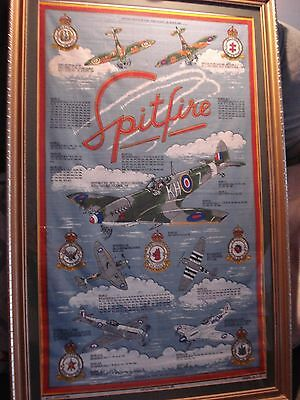 """Framed Cotton Picture""""history Of Spitfire"""""""