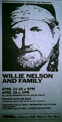 WILLIE NELSON at Radio City Music Hall, NYC rare 1985 Concert print ad 3x6 inch