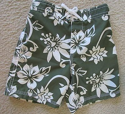 OLD NAVY 18-24 Months Boys Dark Green Hibiscus Swimsuit/ Board Shorts/ Trunks