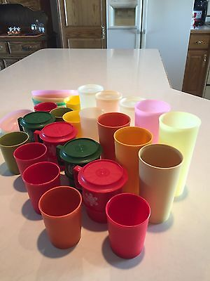 Assorted Lot Of Tupperware Glasses W/3lids Mugs W/lids Pastel Cereal Bowls