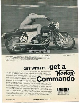 1969 Norton 750 Commando Motorcycle Art Ninci  Vtg Print Ad