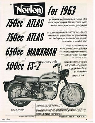 1963 Norton Atlas Motorcycle Vtg Print Ad