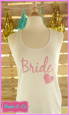 NEW Sample sale READY TO SHIP size Medium White and Pink Bride tank top bride
