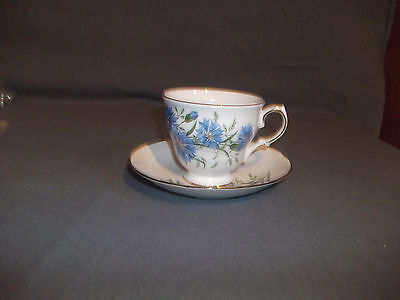 Queen Anne Teacup and Saucer Blue Floral Design