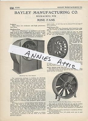 1920 advertising ad BAYLEY MANUFACTURING COMPANY Milwaukee WI MINE FANS coal