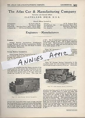 1920 advertising ad ATLAS CAR & MANUFACTURING Cleveland OH Mine locomotives coal