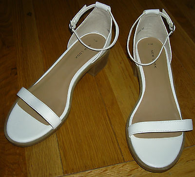 New Look White Ankle Strap Sandals Uk 7 Low Heel Leather Faux