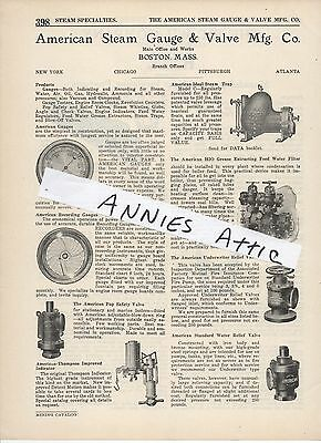 1920 advertising ad AMERICAN STEAM GAUGE & VALVE COMPANY steam water oil gas