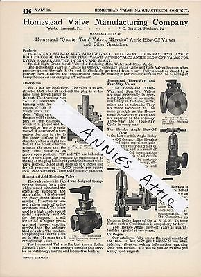 1920 advertising ad HOMESTEAD VALVE MANUFACTURING COMPANY Homestead PA Hovalco