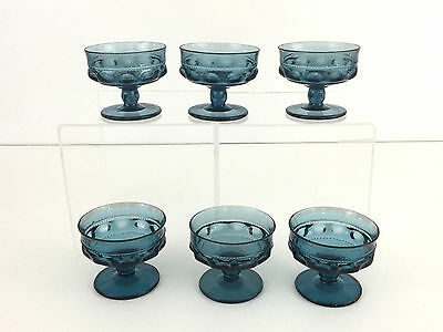 vintage Indiana Glass Co. 6 kings crown dessert cups, smoke or colonial blue