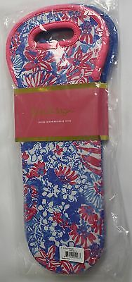 Lilly Pulitzer Wine Tote Insulated Neoprene Pink Blue Set of 2 Limited Edition