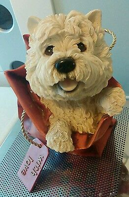 Life size Leonardo Dog Collection - Large Westie in a Bag - Ornament