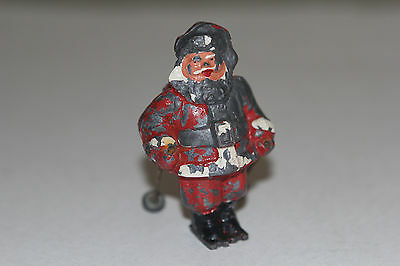"""Vintage Lead Skiing Santa Claus with Poles Barclay Made in USA Christmas Putz 3"""""""