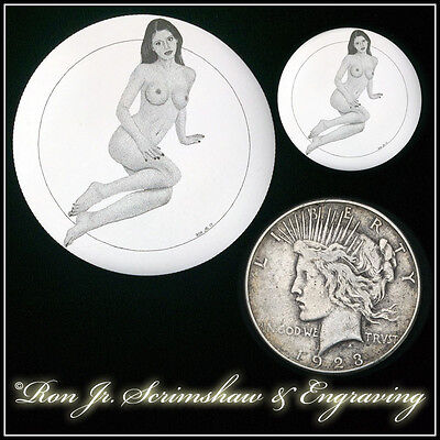 Bulino Engraved Nude 90% Silver Peace Dollar by Ron Jr Scrimshaw & Engraving #83