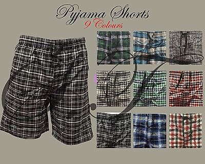 Mens Pyjama Shorts Bottom Nightwear Lounge Woven Check Assorted Colour 2 Pockets