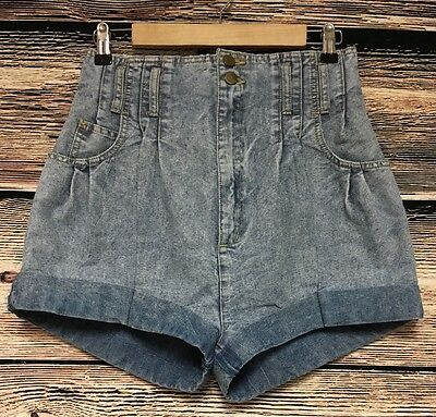 VTG Christina Juniors Size 11 80's Acid Washed High Waist Shorts Cuffed