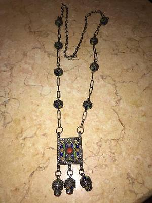 AMAZIGH Berber Necklace in silver with enamels and coral