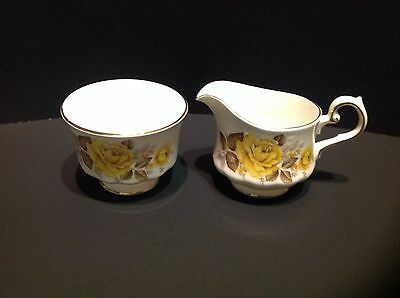 Queen Anne Creamer and Sugar Bowl Yellow Roses