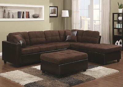 Prime Chocolate Microfiber Sectional Sofa W Reversible Chaise Squirreltailoven Fun Painted Chair Ideas Images Squirreltailovenorg