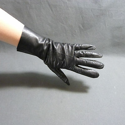 French Pair Women's Vintage black Leather Gloves size 7