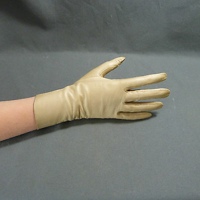 French Pair Women's Vintage Leather washable Gloves beige by Guibert Paris