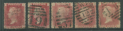 GB QV SG43/44 1d rose/lake red plates 145, 146, 147, 148 & 149 - Used