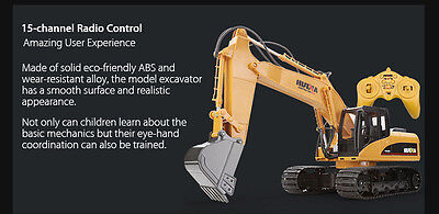HUINA 1550 1:12 2.4GHz 15CH RC Alloy Excavator with programing Independent Arms