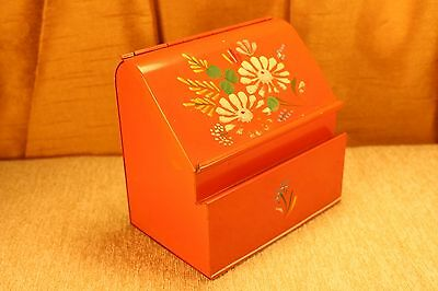 Mid Century 1960s Toleware Metal Recipe Box Tall Wall Mount Vintage Daisy Tole