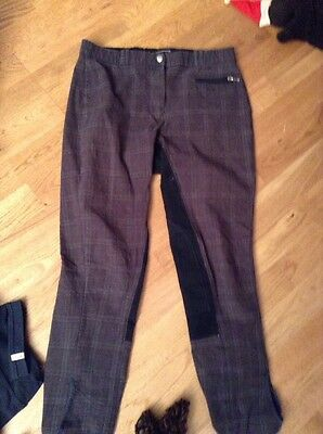 Blue Plaid Mark Todd Ladies Breeches Size 12 Uk (30)