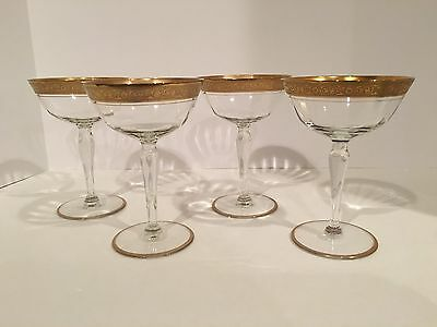 Set of 4 Tiffin Gold Encrusted Wine Champagne Coupe Optic Paneled Glasses