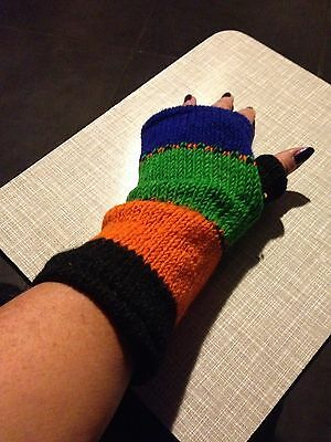 Winter Wool Long Arm Warmers Fingerless Gloves Hand Knitted Lined Made In Nepal