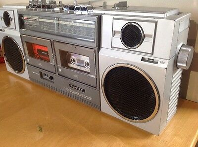 Vintage CONTEC Twin Tape   Radio cassette recorder player. & Tapes In Box ,