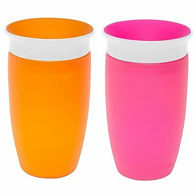 Munchkin 2 Pack Miracle 360⁰ 10oz Sippy Cup/Orange and Pink