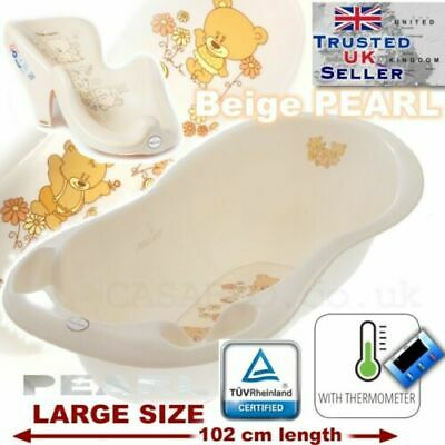 SET LARGE 102cm Baby Bath Tub with thermomether + SUPPORT SEAT chair WHITE