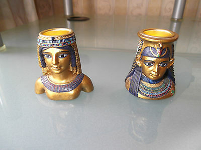 Egyptian Twin Head Candlestick Candle Holders