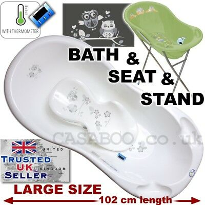 SET LARGE Lux 102cm length Baby Bath Tub with STAND + seat & THERMOMETHER