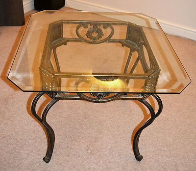 Square Side Table with Bevelled Glass Top