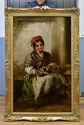 Large Fine Original Antique 19th Century Oil Painting of Young Spanish Girl 1879