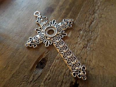 Lovely Large Ornate Christian Silver Plated Religious Cross Crucifix Pendant