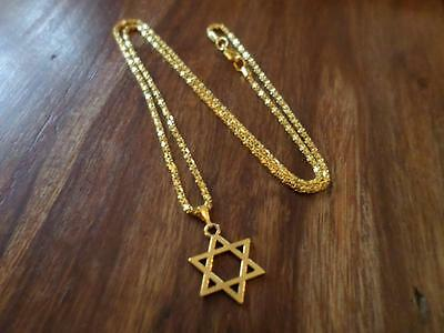 Lovely Gold Plated Star Of David Pendant On Necklace. Jewish Bar Mitzvah Gift