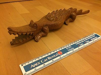 Beautiful Handcarved Wooden Crocodile Sculpture Collectable 35 Cm Aprox