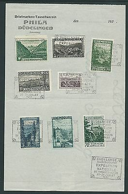 Luxembourg 1937 Philatelic Exhibition Souvenire Used Sheet Nice!