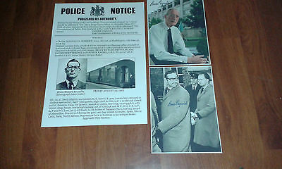 Bruce Reynolds Wanted Poster & Signed Picture The Great Train Robbery 1963 Crime