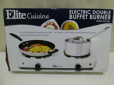 NEW ELITE CUISINE ELECTRIC DOUBLE BURNER BUFFET EDB-302F New in Box