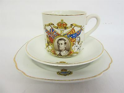 Edward VIII 1937 coronation trio - Cup, saucer and side plate - Unbranded