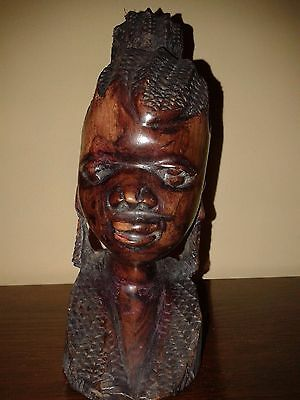 African Carved Wooden Head. African Wooden Female Bust