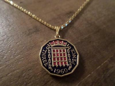 Vintage Hand Painted Threepence Coin 1960 Pendant & Necklace Great Birthday Gift