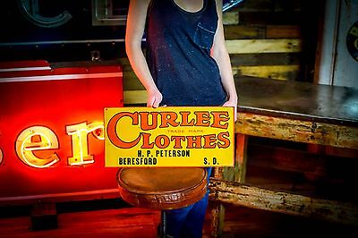 Antique CURLEE CLOTHES Sign original tin embossed Tacker overalls Work Wear