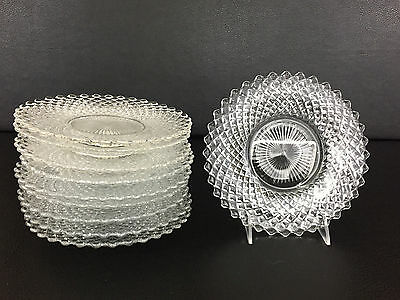 """10 vintage clear glass ENGLISH HOBNAIL 8"""" plates, Westmoreland Glass Co. 1950's"""